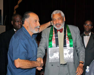 Local Palestinian activist Bassam Ashkar greets Reverend Hagler at the end of the evening.